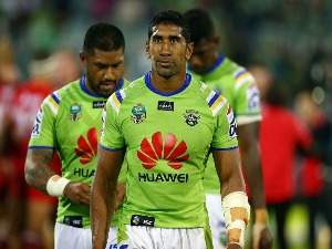 SIA SOLIOLA of the Raiders leaves the field dejected after the NRL match between the Canberra Raiders and the St George Illawarra Dragons at GIO Stadium in Canberra, Australia.