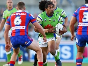SIA SOLIOLA of the Raiders in action during the NRL match between the Canberra Raiders and the Newcastle Knights at GIO Stadium in Canberra, Australia.