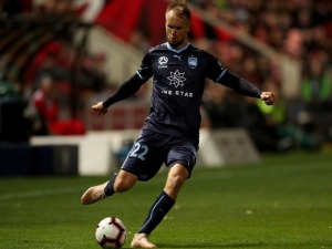 SIEM DE JONG of Sydney FC kicks the ball during the A-League match between Adelaide United and Sydney FC at Coopers Stadium in Adelaide, Australia.