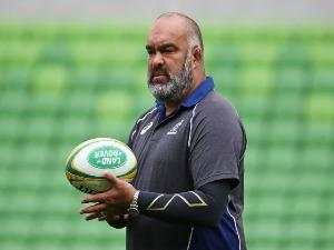 Australia forwards coach SIMON RAIWALUI looks on during an Australian Wallabies Captain's in Melbourne, Australia.