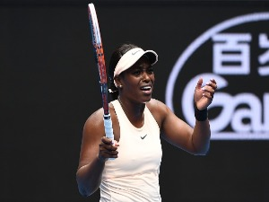 SLOANE STEPHENS of the United States reacts in her first round match against Shuai Zhang of China on day one of the 2018 Australian Open at Melbourne Park in Melbourne, Australia.