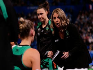 STACEY MARINKOVICH, coach of the Fever speaks to the team at the break during the Super Netball match between the Fever and the Magpies at Perth Arena in Perth, Australia.