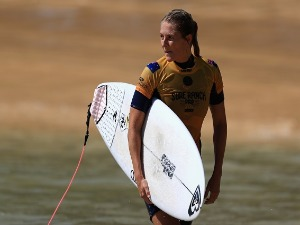 STEPHANIE GILMORE of Australia looks on during the women's qualifying round of the World Surf League Surf Ranch Pro in Lemoore, California.