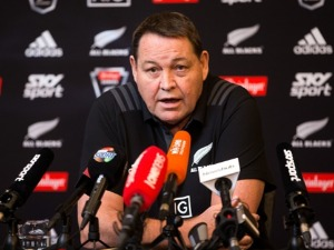 Coach STEVE HANSEN speaks to media during a New Zealand All Blacks press conference in Wellington, New Zealand.