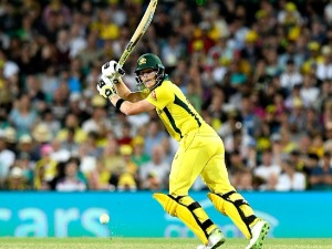 STEVE SMITH of Australia plays a shot during game three of the One Day International series between Australia and England at SCG in Sydney, Australia.