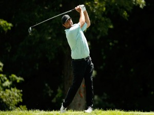 STEVEN BOWDITCH of Australia hits his tee shot on the hole during the John Deere Classic at TPC Deere Run in Silvis, Illinois.