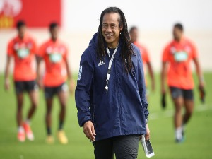 Blues coach TANA UMAGA during a Blues Super Rugby training session at Alexandra Park in Auckland, New Zealand.