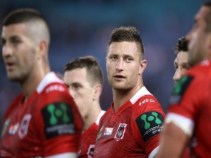 TARIQ SIMS of the Dragons looks dejected after a Bulldogs try during the NRL match between the Canterbury Bulldogs and the St George Illawarra Dragons at ANZ Stadium in Sydney, Australia.