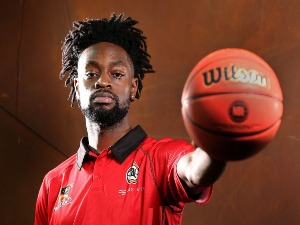 TERRICO WHITE poses, at Bendat Basketball Centre, ahead of his debut for the Perth Wildcats in the NBL season in Perth, Australia.