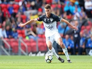 TERRY ANTONIS of the Victory in action during the A-League match between the Newcastle Jets and the Melbourne Victory at McDonald Jones Stadium in Newcastle, Australia.