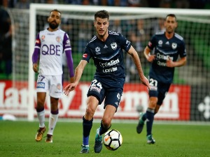 TERRY ANTONIS of the Victory controls the ball during the A-League match between the Melbourne Victory and Perth Glory at AAMI Park in Melbourne, Australia.