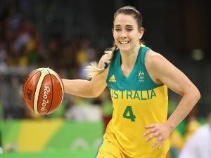 TESSA LAVEY of Australia takes the ball forward during the Women's basketball match between Australia and Belarus in Rio de Janeiro, Brazil.