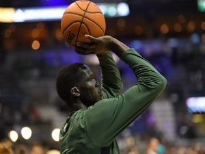 THON MAKER #7 of the Milwaukee Bucks participates in warmups prior to a game prior to a game against the Charlotte Hornets at the BMO Harris Bradley Center in Milwaukee, Wisconsin.