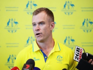 Women's Sevens team coach TIM WALSH speaks to the media during the Australian Rugby Sevens Commonwealth Games Teams Announcement at the Rugby Australia building in Sydney, Australia.