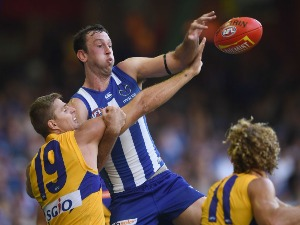 Nathan Vardy of the Eagles and TODD GOLDSTEIN of the Kangaroos compete in the ruck during the AFL match between the North Melbourne Kangaroos and the West Coast Eagles at Etihad Stadium in Melbourne, Australia.