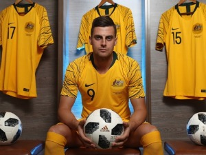 TOMI JURIC of Australia poses during the Australian Socceroos Portrait Session at the Gloria Football Club in Antalya, Turkey.