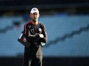 Wanderers coach TONY POPOVIC looks on during a Western Sydney Wanderers A-League training session at Pirtek Stadium in Sydney, Australia.