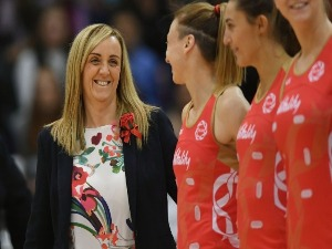 England Roses coach TRACEY NEVILLE before the International Test match between the New Zealand Silver Ferns and the England Roses at Pettigrew Green Arena in Napier, New Zealand.