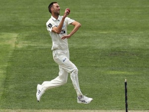 TRENT COPELAND of NSW bowls during day two of the Sheffield Shield match between New South Wales and Tasmania at Blundstone Arena in Hobart, Australia.