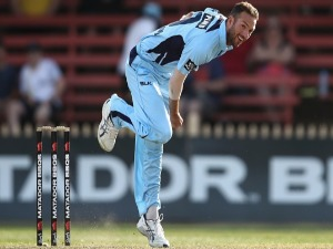 TRENT COPELAND of the Blues bowls during the Matador BBQs One Day Cup match between New South Wales and Victoria at North Sydney Oval in Sydney, Australia.