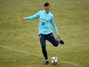 TRENT SAINSBURY of Australia in action during an Australian Socceroos training at Arasen Stadion in Oslo, Norway.
