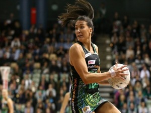 VERITY CHARLES of the Fever catches a pass during the Super Netball match between the Fever and the Lightning at HBF Stadium in Perth, Australia.