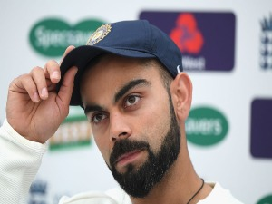 India captain VIRAT KOHLI speaks to the media before India nets ahead of the 4th Test Match against England at The Ageas Bowl in Southampton, England.