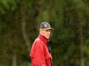 Coach WAYNE BENNETT watches on during the Brisbane Broncos NRL training session in Brisbane, Australia.