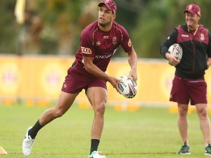 WILL CHAMBERS passes during a Queensland Maroons State of Origin training session at Intercontinental Sanctuary Cove Resort in Brisbane, Australia.