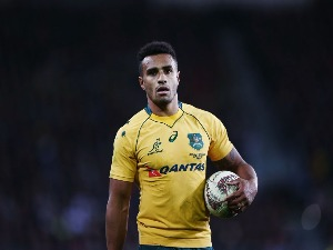 WILL GENIA of the Wallabies looks on during The Rugby Championship Bledisloe Cup at Forsyth Barr Stadium in Dunedin, New Zealand.