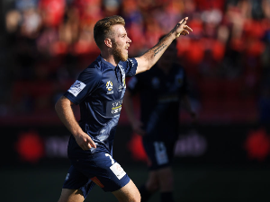 ANDREW HOOLE of the Central Coast Mariners celebrates after kicking a goal during the round 16 A-League match between Adelaide United and the Central Coast at Coopers Stadium in Adelaide, Australia.