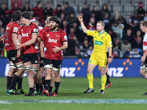 Referee ANGUS GARDNER reacts during the Super Rugby Final match between the Crusaders and the Lions at AMI Stadium in Christchurch, New Zealand.