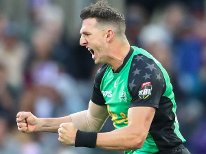 DANIEL WORRALL of the Stars celebrates after dismissing Matthew Wade of the Hurricanes during the Big Bash League semi final match between the Hobart Hurricanes and the Melbourne Stars at Blundstone Arena in Hobart, Australia.