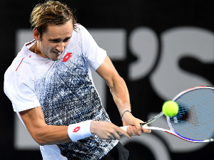 DANIIL MEDVEDEV of Russia plays a backhand in his match during the Brisbane International at Pat Rafter Arena in Brisbane, Australia.
