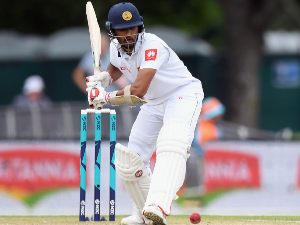 DINESH CHANDIMAL of Sri Lanka bats during the Second Test match in the series between New Zealand and Sri Lanka at Hagley Oval in Christchurch, New Zealand.
