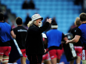 LAURIE FISHER the head coach of Gloucester directs his players during the warm up prior to the European Rugby Challenge Cup Final match between Edinburgh and Gloucester at the Twickenham Stoop in London, England.