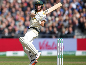 MARNUS LABUSCHAGNE of Australia during the Specsavers Ashes Test between England and Australia at Old Trafford in Manchester, England.