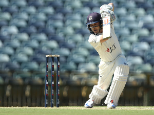 SEB GOTCH of Victoria bats during day two of the Sheffield Shield match between Western Australia and Victoria at the WACA in Perth, Australia.