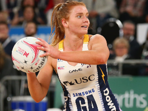 STEPH WOOD of the Lightning passes the ball during the Super Netball match between the Vixens and the Lightning at Hisense Arena in Melbourne, Australia.