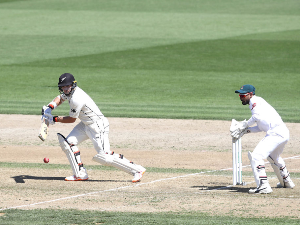 TOM LATHAM of New Zealand bats during day two of the First Test match in the series between New Zealand and Bangladesh at Seddon Park in Hamilton, New Zealand.
