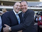 Nick Columb & John Messara celebrate after Miss Finland's 2006 Golden Slipper victory at Rosehill.