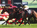 The John Size-trained Mr Stunning (red cap) with Nash Rawiller in the saddle wins the LONGINES Hong Kong Sprint (Group 1-1200M).