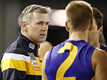 Adam Simpson, Senior coach of the Eagles addresses his team during the round 18 clash against the Magpies July 23, 2017