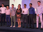 The seven jockeys who attended the draw ceremony.