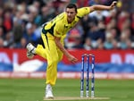 JOSH HAZLEWOOD of Australia bowls during the ICC Champions Trophy match at Edgbaston in England.