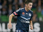 Marco Rojas of the Victory runs with the ball during the A- League Semi Final against Brisbane Roar April 30, 2017