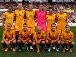 MATILDAS team pose before kickoff at Pepper Stadium in Sydney, Australia