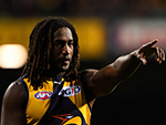 NIC NAITANUI of the Eagles directs his players during the 2016 AFL match between the West Coast Eagles and the Hawthorn Hawks at Domain