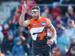 Shane Mumford of the Giants celebrates a goal during their round 20 AFL match against the Melbourne Demons. August 5, 2017