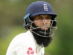 MOEEN ALI of England looks on during the tour match between the Cricket Australia CA XI and England at Richardson Park in Perth, Australia.